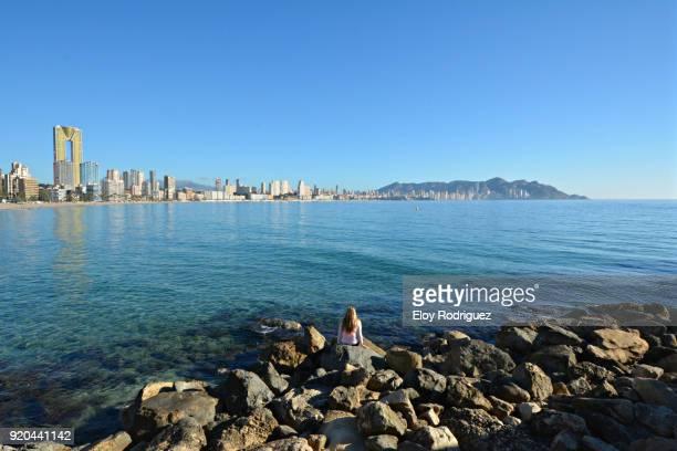 benidorm desde playa de poniente - alicante stock pictures, royalty-free photos & images
