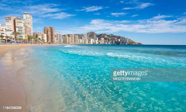 benidorm levante beach in alicante spain - alicante stock pictures, royalty-free photos & images