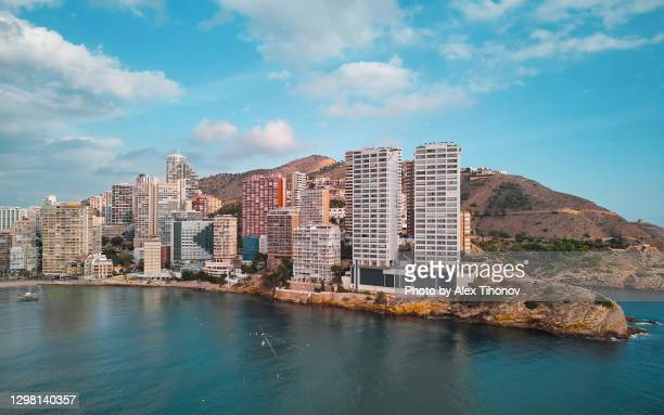 benidorm modern residential coastal houses. spain - spain stock pictures, royalty-free photos & images