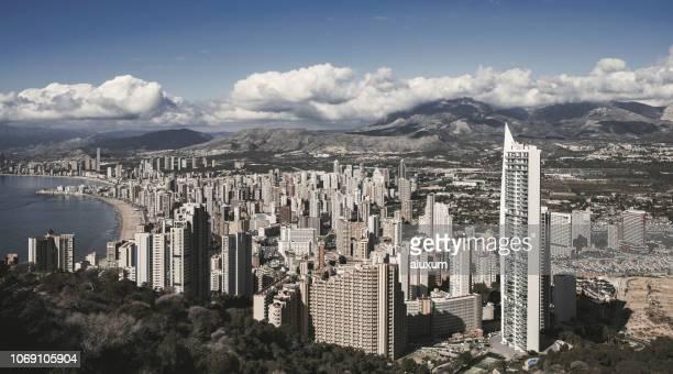 benidorm skyline in alicante spain - benidorm foto e immagini stock