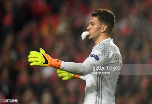 Benifica's goalkeeper Ederson during the first leg of the Champions League quarter final knockout match between the Portuguese champions Benifica and...