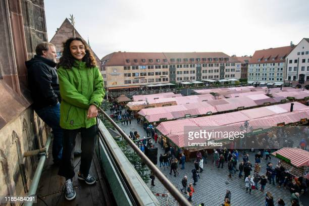 Benigna Munsi the newlyelected Nuremberg Christ Child who will ceremonially inaugurate the Nuremberg Christmas market makes a soundcheck on the...