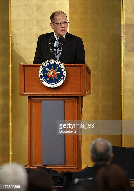 Benigno Aquino the Philippines' president delivers a speech at an investment forum in Tokyo Japan on Thursday June 4 2015 Aquino yesterday said the...