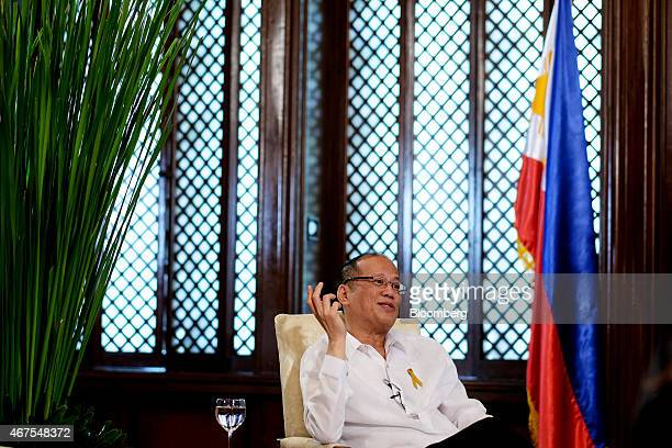 Benigno Aquino the Philippines' president gestures as he speaks during a Bloomberg Television interview at the Malacanang Palace compound in Manila...
