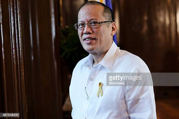 Benigno Aquino the Philippines' president poses for a photograph following a Bloomberg Television interview at the Malacanang Palace compound in...