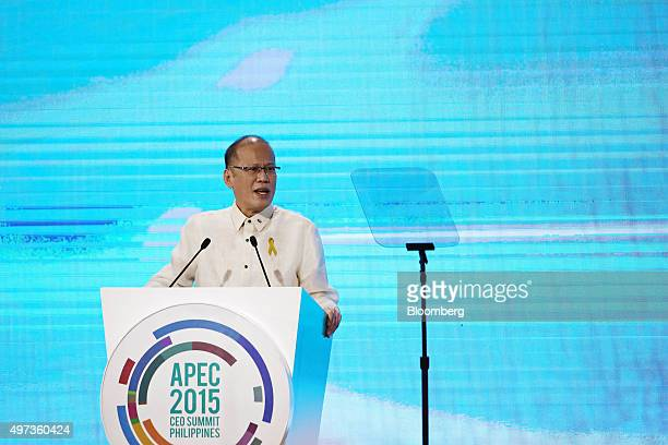 Benigno Aquino the Philippines' president speaks at the AsiaPacific Economic Cooperation CEO Summit in Manila the Philippines on Monday Nov 16 2015...