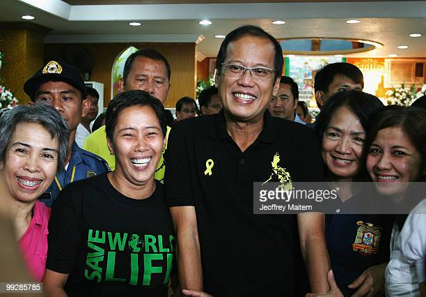 Benigno Noynoy Aquino is seen as he is unofficially announced as the 15th President of the Philippines on May 14 2010 in Tarlac Philippines The...