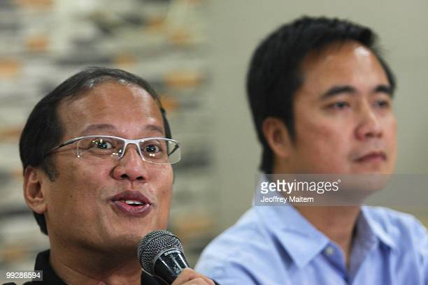 Benigno Noynoy Aquino is seen during a press briefing as he is unofficially announced as the 15th President of the Philippines on May 14 2010 in...