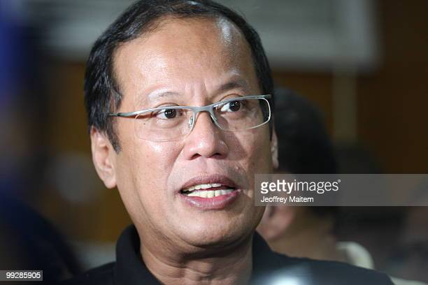 Benigno Noynoy Aquino talks during a press conference after he is unofficially announced as the 15th President of the Philippines on May 14 2010 in...