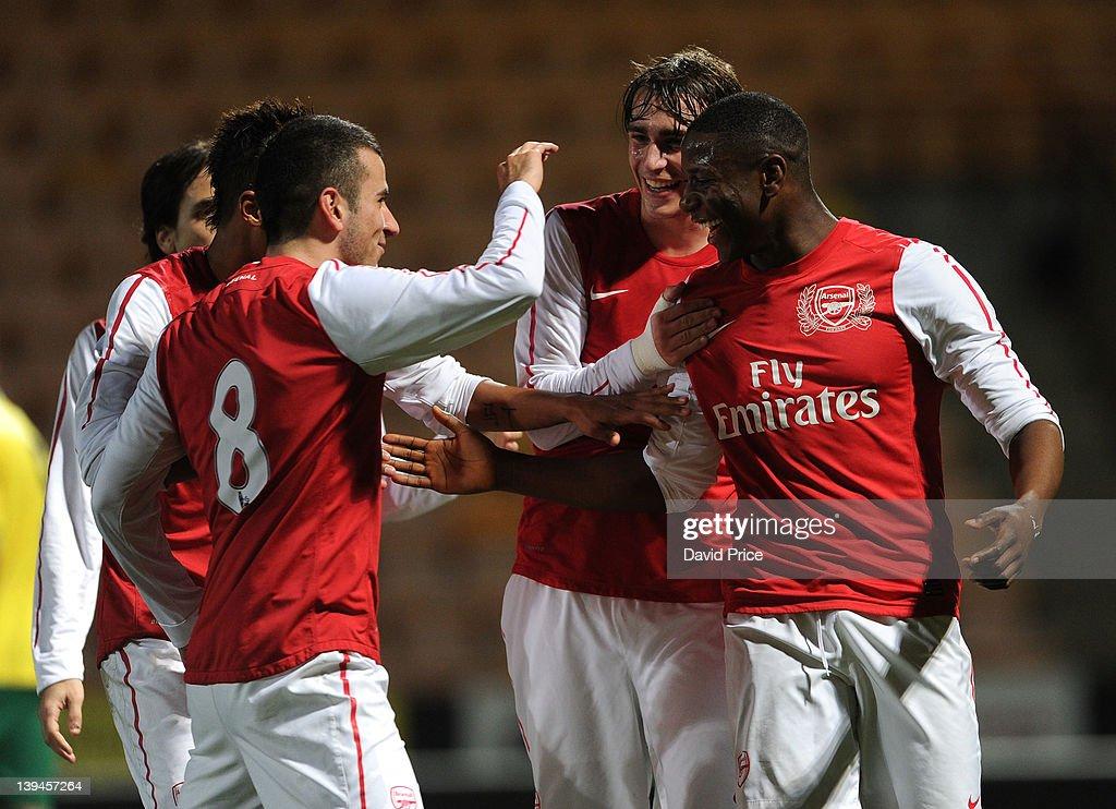 Benik Afobe Celebrates Scoring A Goal For Arsenal With
