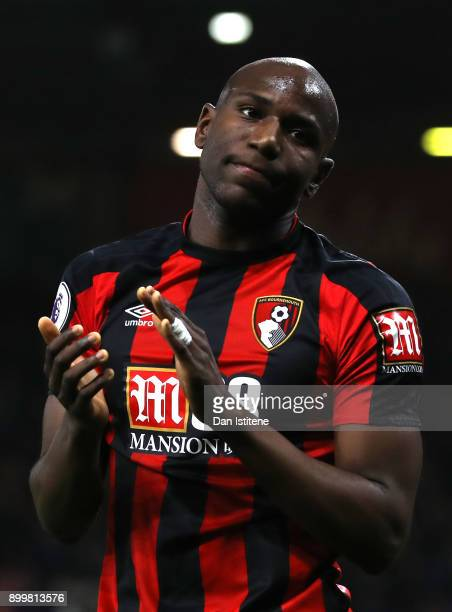 Benik Afobe of AFC Bournemouth applauds fans after the Premier League match between AFC Bournemouth and Everton at Vitality Stadium on December 30...