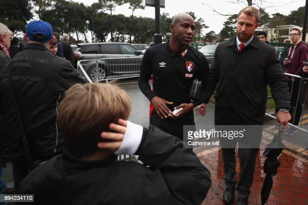 Benik Afobe of AFC Bournemouth arrives at the stadium prior to the Premier League match between AFC Bournemouth and Liverpool at Vitality Stadium on...