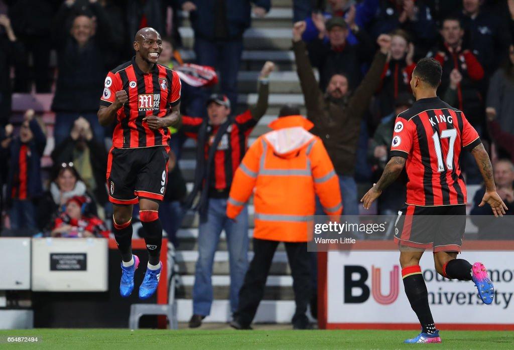 Benik Afobe Of AFC Bournemouth Celebrates Scoring His