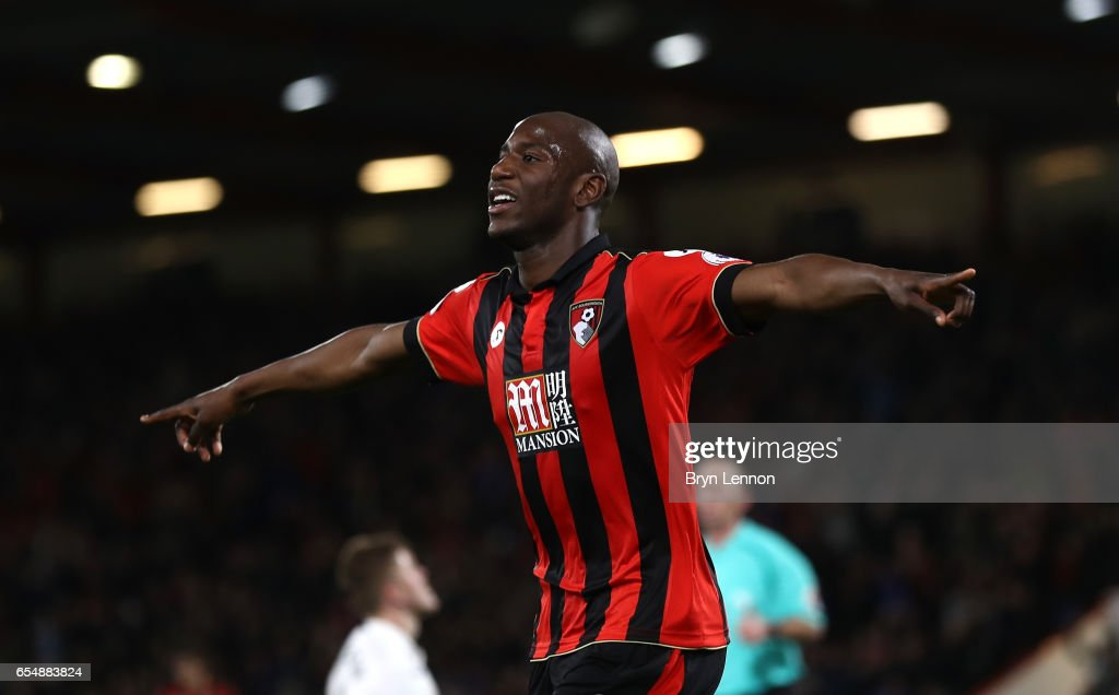 Benik Afobe of AFC Bournemouth celebrates scoring his sides second goal during the Premier League match between AFC Bournemouth and Swansea City at Vitality Stadium on March 18, 2017 in Bournemouth, England.