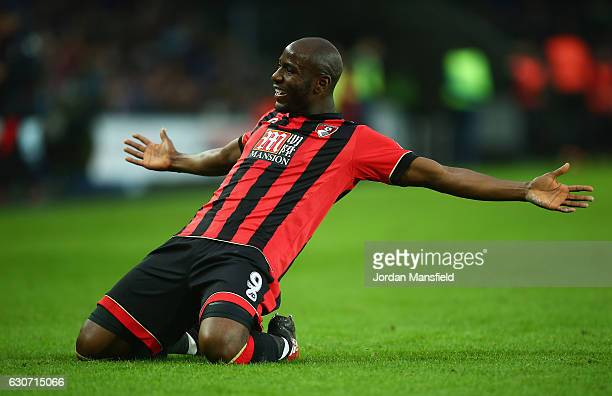 Benik Afobe of AFC Bournemouth celebrates scoring the opening goal during the Premier League match between Swansea City and AFC Bournemouth at...