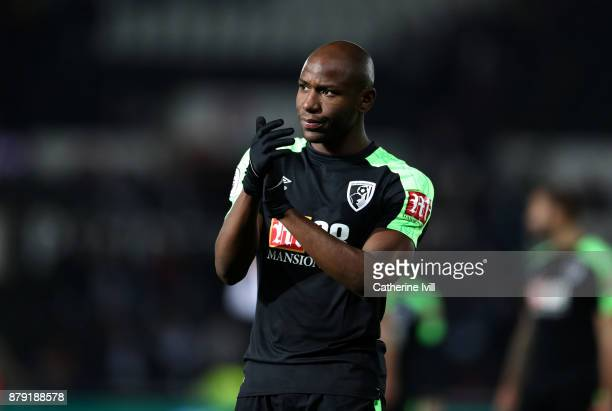 Benik Afobe of AFC Bournemouth during the Premier League match between Swansea City and AFC Bournemouth at Liberty Stadium on November 25 2017 in...