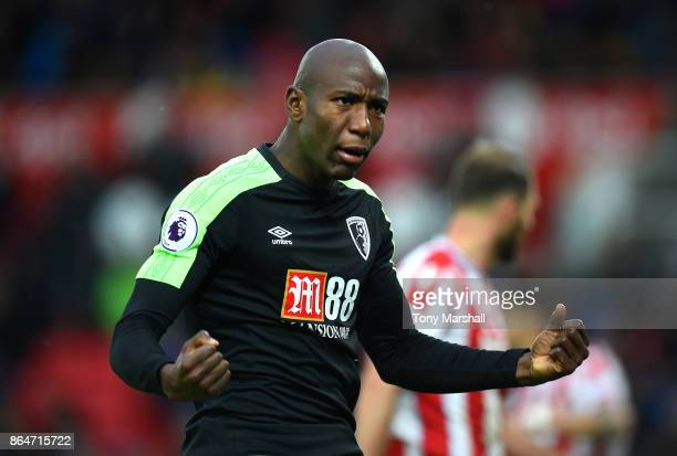 Benik Afobe of AFC Bournemouth during the Premier League match between Stoke City and AFC Bournemouth at Bet365 Stadium on October 21 2017 in Stoke...