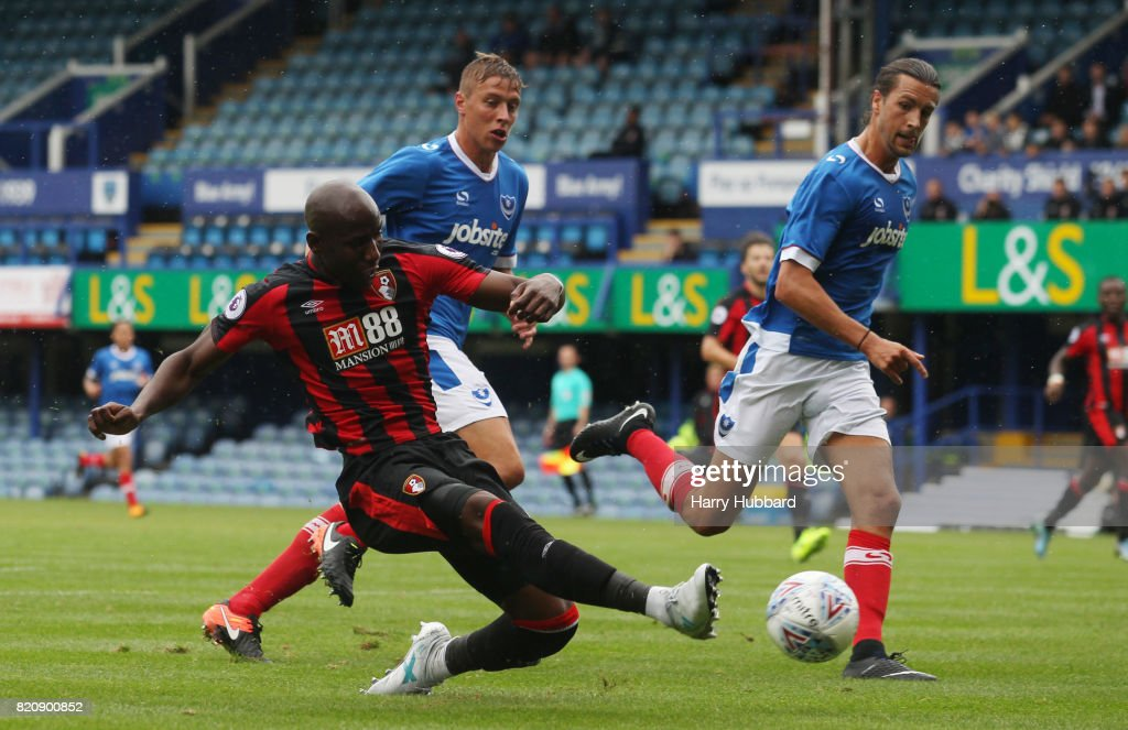Benik Afobe of AFC Bournemouth in action during a pre-season friendly match between Portsmouth and AFC Bournemouth at Fratton Park on July 22, 2017 in Portsmouth, England.