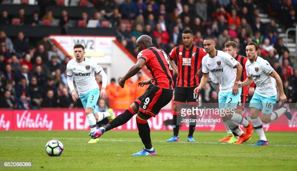 Benik Afobe of AFC Bournemouth misses his sides second penalty of the game during the Premier League match between AFC Bournemouth and West Ham...