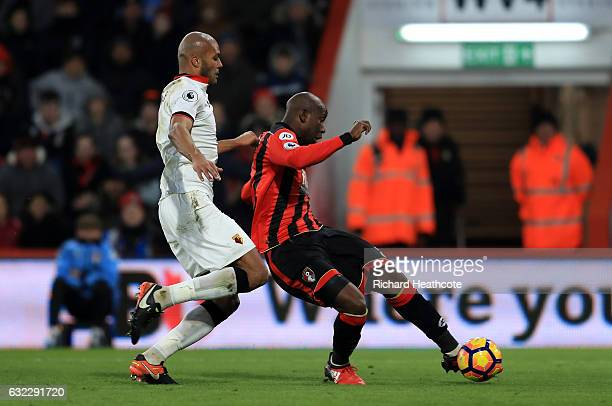 Benik Afobe of AFC Bournemouth scores his sides second goal during the Premier League match between AFC Bournemouth and Watford at Vitality Stadium...