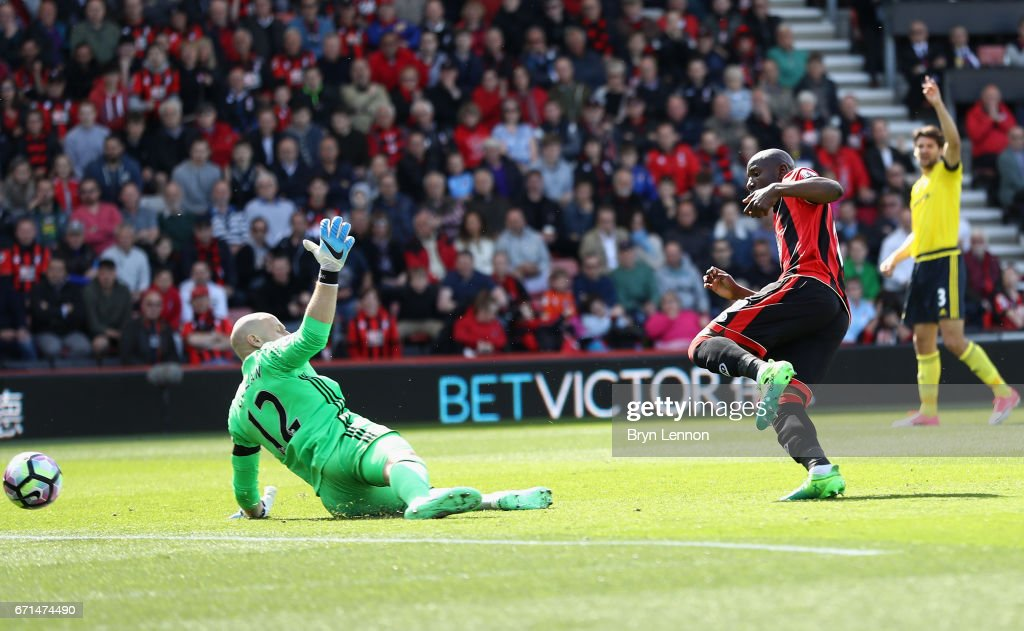 Benik Afobe of AFC Bournemouth scores his team's second goal during the Premier League match between AFC Bournemouth and Middlesbrough at the Vitality Stadium on April 22, 2017 in Bournemouth, England.
