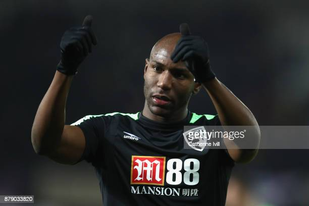 Benik Afobe of AFC Bournemouth shows appreciation to the fans following the Premier League match between Swansea City and AFC Bournemouth at Liberty...