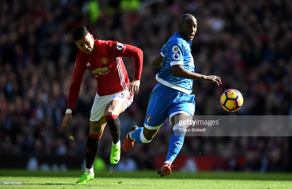 Benik Afobe Of AFC Bournemouth Slips As He Attempts To