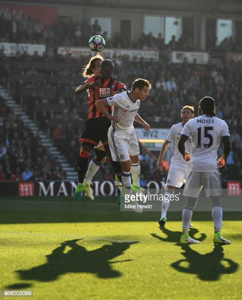 Benik Afobe of AFC Bournemouth wins a header during the Premier League match between AFC Bournemouth and Chelsea at Vitality Stadium on April 8 2017...