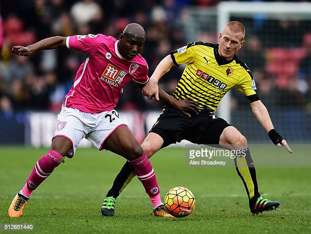 Benik Afobe of Bournemouth and Ben Watson of Watford compete for the ball during the Barclays Premier League match between Watford and AFC...