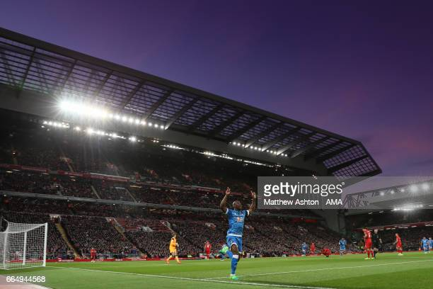 Benik Afobe of Bournemouth celebrates after scoring a goal to make it 01 during the Premier League match between Liverpool and AFC Bournemouth at...