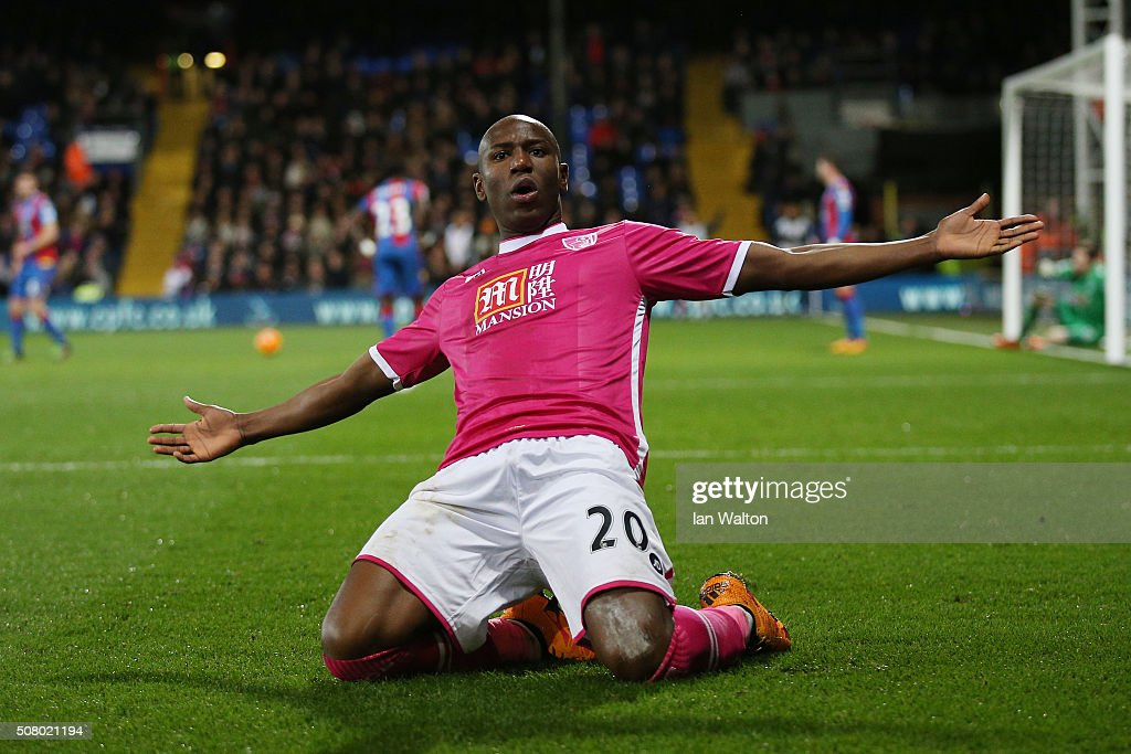 Benik Afobe of Bournemouth celebrates scoring his team's second goal during the Barclays Premier League match between Crystal Palace and A.F.C. Bournemouth at Selhurst Park on February 2, 2016 in London, England.