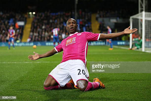 Benik Afobe of Bournemouth celebrates scoring his team's second goal during the Barclays Premier League match between Crystal Palace and AFC...