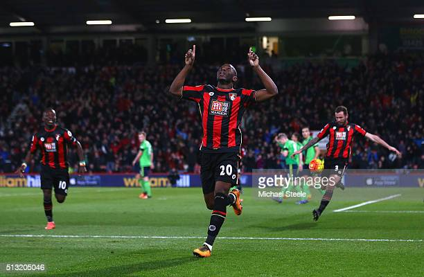 Benik Afobe of Bournemouth celebrates scoring his team's second goal during the Barclays Premier League match between AFC Bournemouth and Southampton...