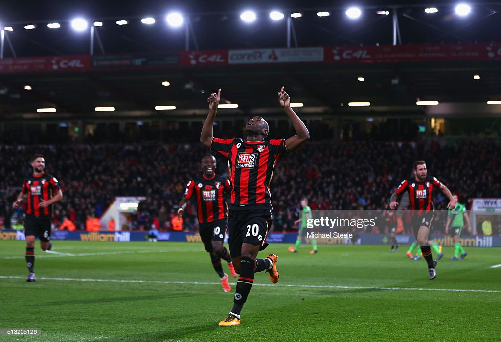 Benik Afobe of Bournemouth celebrates scoring his team's second goal during the Barclays Premier League match between A.F.C. Bournemouth and Southampton at Vitality Stadium on March 1, 2016 in Bournemouth, England.
