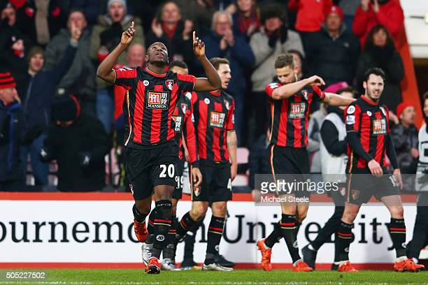 Benik Afobe of Bournemouth celebrates scoring his team's third goal during the Barclays Premier League match between AFC Bournemouth and Norwich City...