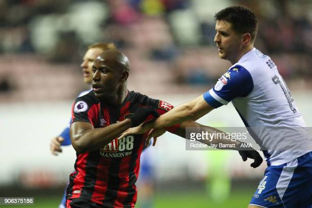 Benik Afobe of Bournemouth during The Emirates FA Cup Third Round Replay between Wigan Athletic v AFC Bournemouth at DW Stadium on January 17 2018 in...