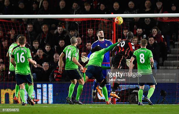 Benik Afobe of Bournemouth heads the ball to score his team's second goal during the Barclays Premier League match between AFC Bournemouth and...