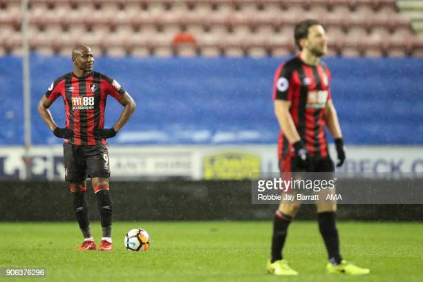 Benik Afobe of Bournemouth looks on after conceding during The Emirates FA Cup Third Round Replay between Wigan Athletic v AFC Bournemouth at DW...