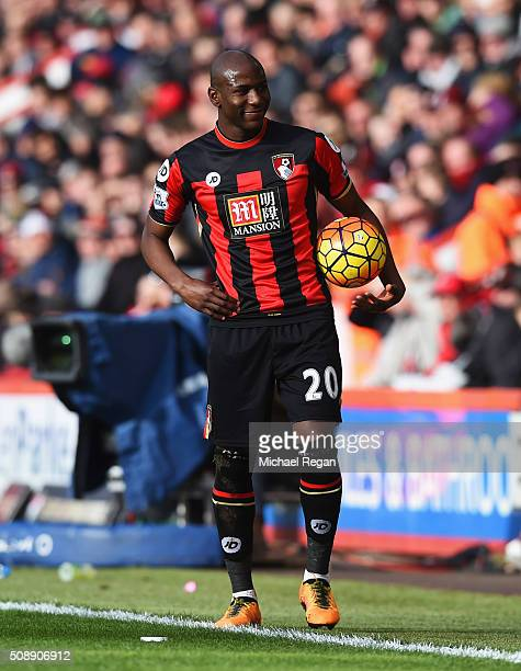 Benik Afobe of Bournemouth smiles towards the Arsenal fans during the Barclays Premier League match between AFC Bournemouth and Arsenal at the...