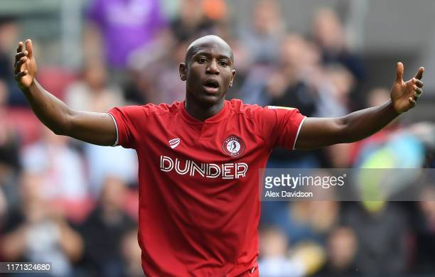 Benik Afobe of Bristol City reacts to a missed chance during the Sky Bet Championship match between Bristol City and Middlesbrough at Ashton Gate on...