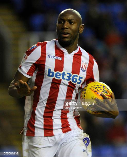 Benik Afobe of Stoke City celebrates scoring his team's first goal during the Sky Bet Championship match between Reading and Stoke City at Madejski...