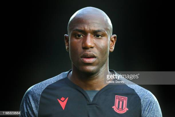 Benik Afobe of Stoke City during the PreSeason Friendly match between Wrexham and Stoke City at Racecourse Ground on July 17 2019 in Wrexham Wales