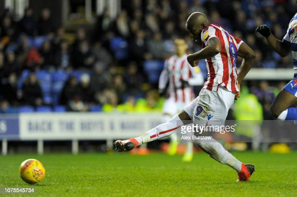 Benik Afobe of Stoke City scores his team's first goal during the Sky Bet Championship match between Reading and Stoke City at Madejski Stadium on...