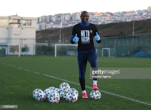 """Benik Afobe of Trabzonspor wearing a t-shirt reading """"No to Racism"""" speaks to press before a training session ahead of Turkish Super Lig match..."""