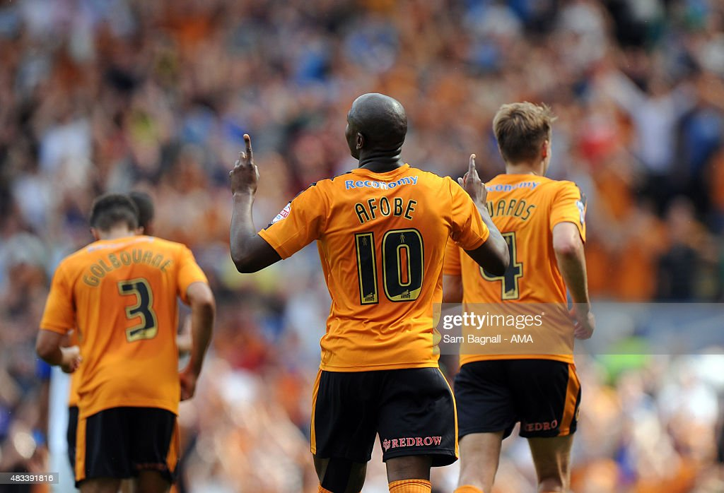 Benik Afobe of Wolverhampton Wanderers celebrates after scoring a goal to make it 0-1 during the Sky Bet Championship match between Blackburn Rovers and Wolverhampton Wandereres at Ewood park on August 8, 2015 in Blackburn, England.