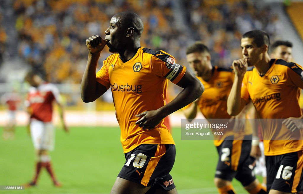 Benik Afobe Of Wolverhampton Wanderers Celebrates After