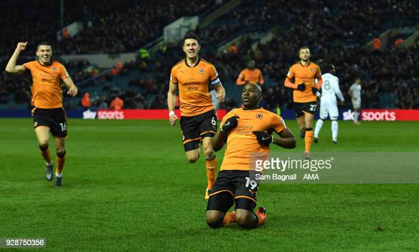 Benik Afobe of Wolverhampton Wanderers celebrates after scoring a goal to make it 03 during the Sky Bet Championship match between Leeds United and...