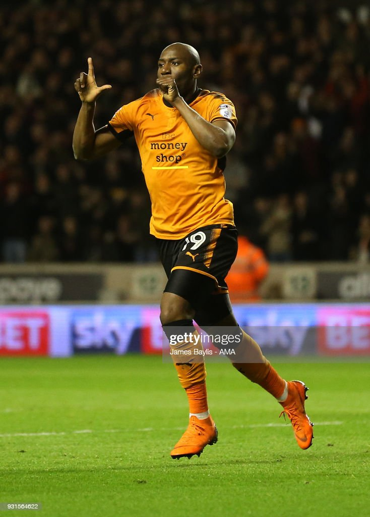 Benik Afobe of Wolverhampton Wanderers celebrates after scoring a goal to make it 2-0 during the Sky Bet Championship match between Wolverhampton Wanderers and Reading at Molineux on March 3, 2018 in Wolverhampton, England.