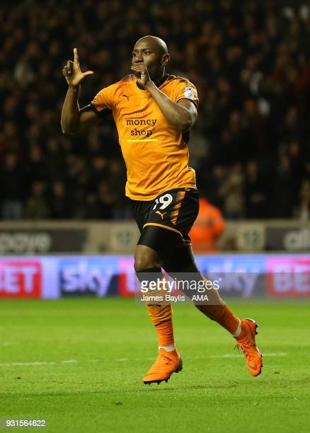 Benik Afobe of Wolverhampton Wanderers celebrates after scoring a goal to make it 20 during the Sky Bet Championship match between Wolverhampton...