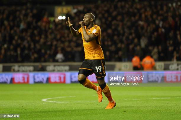 Benik Afobe of Wolverhampton Wanderers celebrates after scoring a goal to make it 20 during the Sky Bet Championship match between Wolverhampton...
